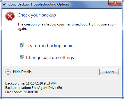 Windows 7 Backup Error